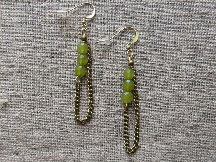 Earrings / Øreringe. Green dangle earrings made of steel and jade. www.bulowssmykker55.amioamio.com
