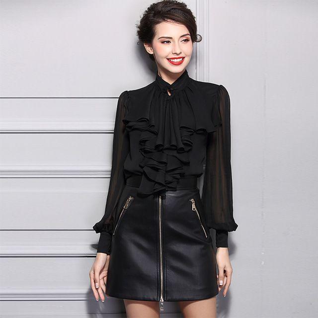 2017 весна элегантный полный sleevve женщина шифон рубашки блузки черный стенд воротник стильный твердые белые рубашки с оборками