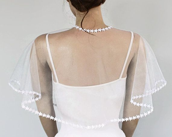 Sheer Tüll Bridal Cape klassischen weißen Tüll Bolero