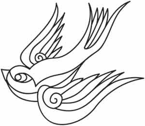 Embroidery Designs at Urban Threads - Swooping Sparrow