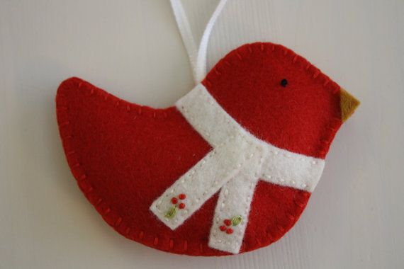 Christmas Felt Ornament Holly by GeorgeNRuby on Etsy