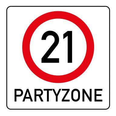 Witzige Einladungskarte Zum 21. Geburtstag Mit Verkehrsschild Partyzone 21  Verkehrsschild#21#Party#