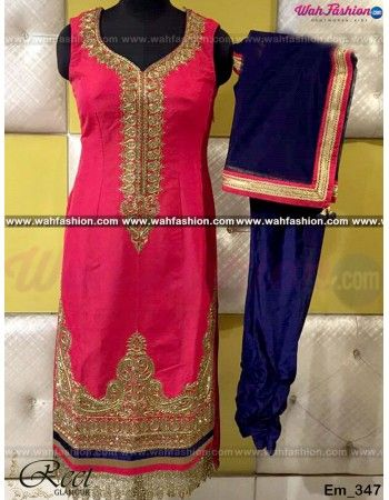 Give yourself a stylish & designer look with this Mesmeric Crimson And Navy Blue Punjabi Suit. Embellished with Embroidery work and lace work. Available with matching bottom & dupatta. It will make you noticable in special gathering. You can design this suit in any color combination or in any fabric. Just whatsapp us for more details. For more details whatsapp us: +919915178418