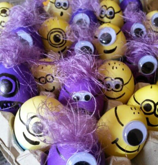 the purple frog: happy, happy, happy... minion eier | diy