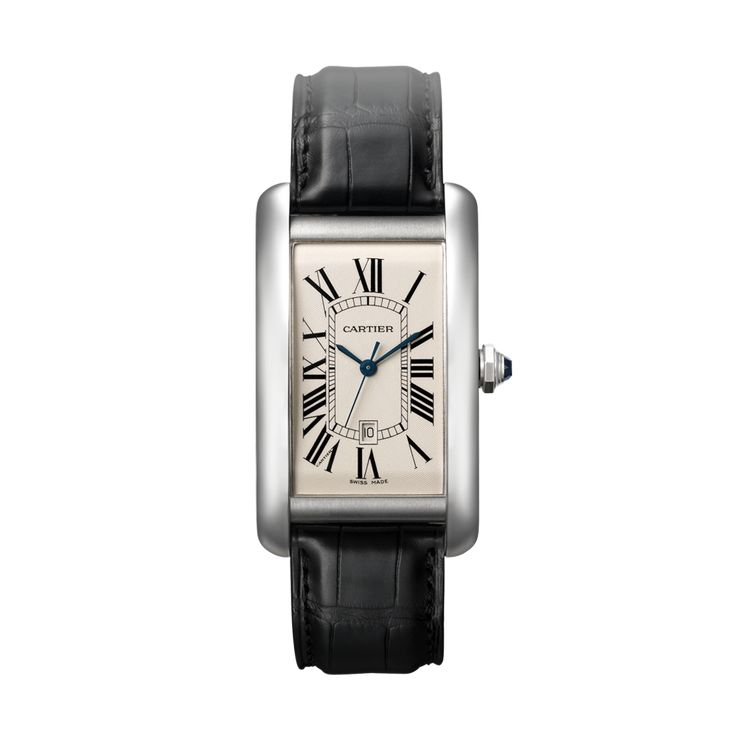 Tank Américaine watch, large model - Automatic, white gold, sapphire, leather - Fine Timepieces for men and for women - Cartier