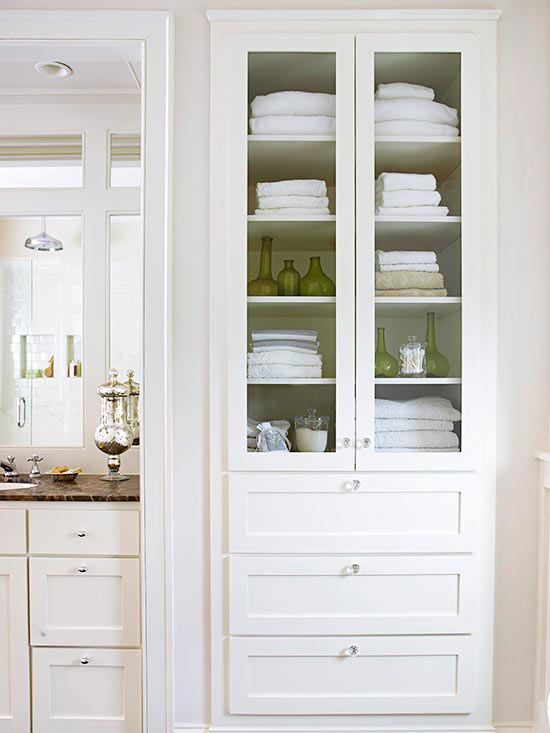 I Love Adding Glass Storage Cabinets To Bathrooms It Keeps The Space Open Vertically And Yo Built In Bathroom Storage Bathroom Linen Closet Bathroom Storage