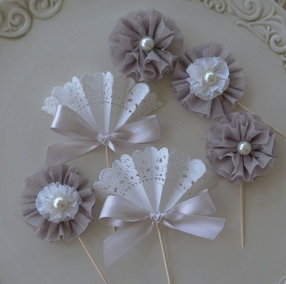 Shades of Gray Elegant Cupcake Toppers in Shades of by JeanKnee, $12.00