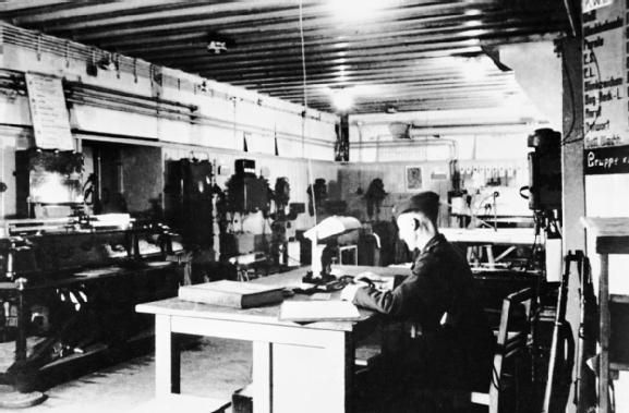 The interior of the command post of the Mirus Gun Battery, which was constructed in 1941-1942 near Guernsey aerodrome during fortification of the islands.