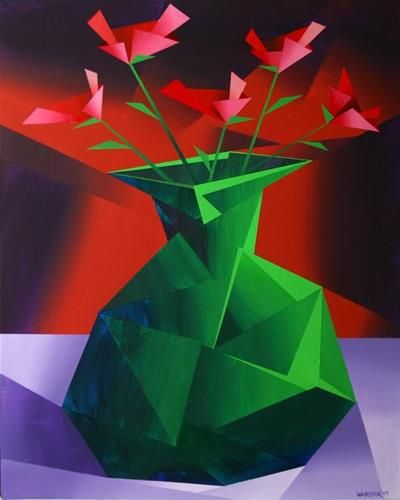 """Mark Webster - Abstract Red Roses in Green Vase Prism Acrylic Painting"" - Original Fine Art for Sale - © Mark Webster"