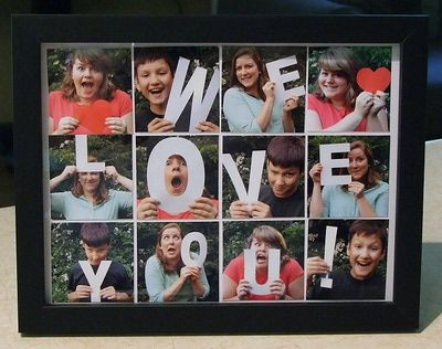 Create a custom photo gift! Cut letters from cardstock and have the kids, family, or friends pose with them. Print all the photos at the Memory Lab and put together in a frame. So many possibilities!