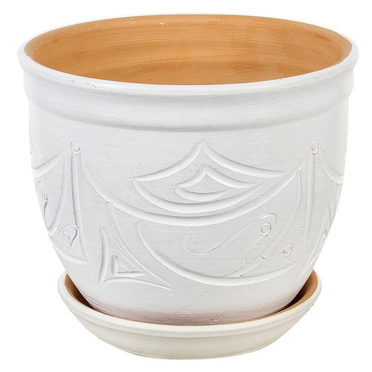 Горшок керамический с поддоном Узоры, диаметр 15,5 см, 2,4 л, цвет белый
