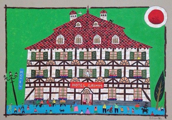 木組みの家々が軒を連ねるドイツ、メルヘン街道のホテルを描きました。ホテルの名前はグリム。絵の中には「赤ずきんちゃん」、「ハメルンの笛吹き」、「ブレーメンの音楽...|ハンドメイド、手作り、手仕事品の通販・販売・購入ならCreema。