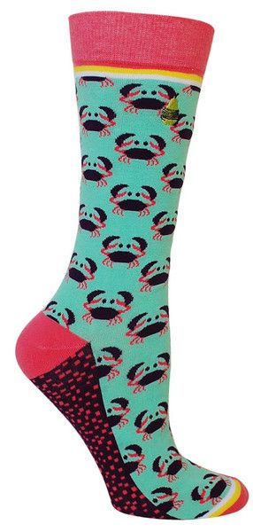 Oh, snap! Seafoam crew length socks with purple and pink crabs, with pink accents and a purple bottom patterned with little pink squares. These socks feature a seamless toe. Fits women's shoe size 5-10.