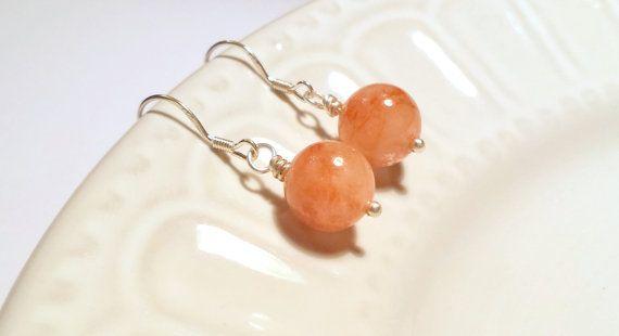 Peach Beryl earrings Caramel gemstone by SundarAndFrouFrou on Etsy