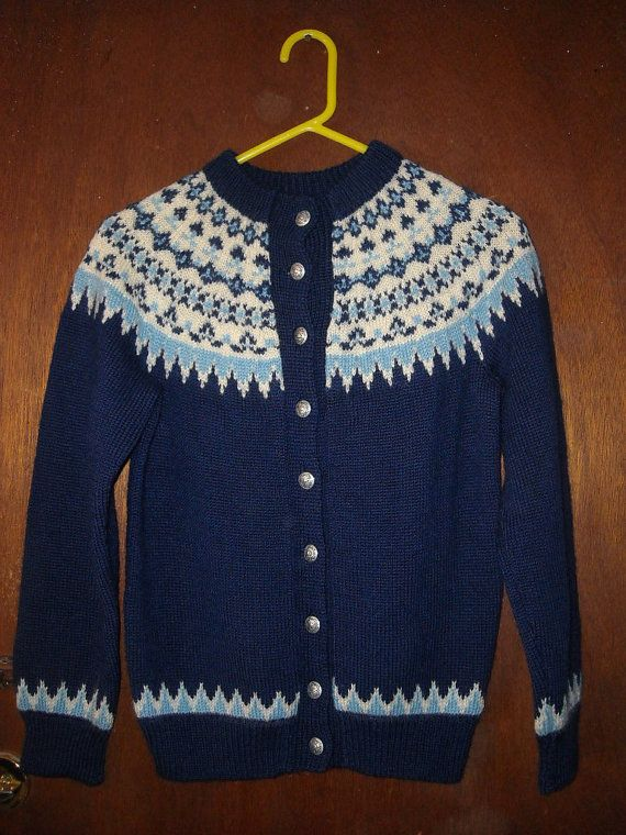 Womens Vintage David I Pike Norwegian Cardigan Sweater by BathoryZ