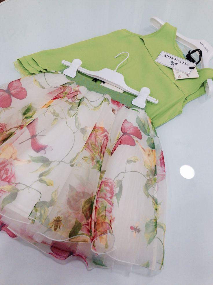 Monnalisa   Spring-Summer Collection   Girl #Monnalisa #spring #summer #kids' #fashion #girl #green #pink #flower #yellow #up #cutiepie #so #much #love #fairy #white #tshirt #skirt #carryonjunior