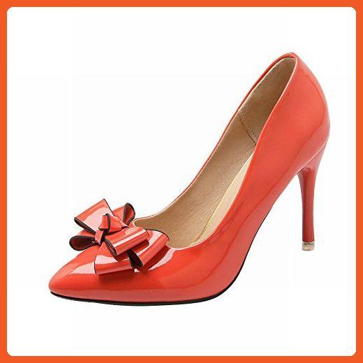 Latasa Women's Cute Bow Pointed-toe Stiletto High Heel Dress Pumps (6, orange) - Pumps for women (*Amazon Partner-Link)