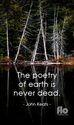The poetry of earth is never dead. ~John Keats #FLOhardwoods