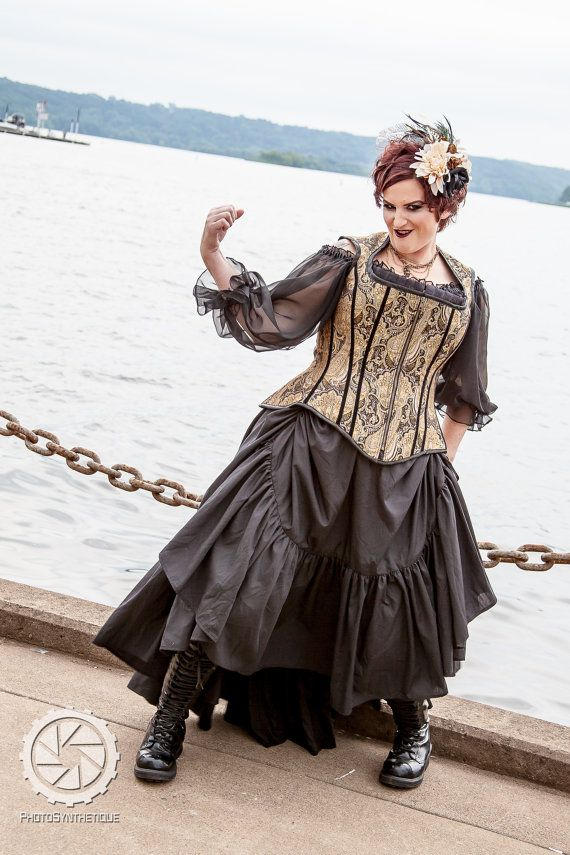"Plus Size Steampunk Skirt with Bustle Pulls in Cotton- Adult Halloween Witch Pirate Costume - ""Ellis Style"" Custom to order 2XL-5XL"