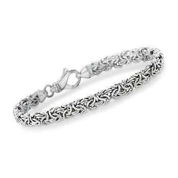 This Italian Byzantine bracelet is a classic look that goes anywhere. The versatility of our Byzantine allows it to be mixed with bangles or wear it on its own - go ahead, try some variations. The Byzantine look is rich and timeless. The smart price can be your little secret. You'll always look great! 1/4 inch wide. Sterling silver bracelet. <br><br> We also have the matching bracelet in sterling silver with a 24kt gold finish (Item# 846560). Try one of each! You'll love them both.<br><br…