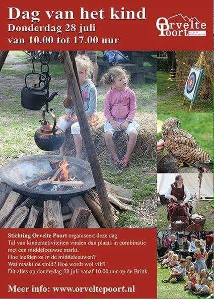 28 juli Dag van het Kind in Orvelte. Op de dorpsbrink staat een middeleeuwse markt, kramen met o.a. heerlijke lekkernijen, sieraden, kleding en stoer middeleeuws speelgoed.En het bruist de gehele dag van de gezellige muziek. http://koopplein.nl/middendrenthe/3245003/28-juli-dag-van-het-kind-orvelte.html