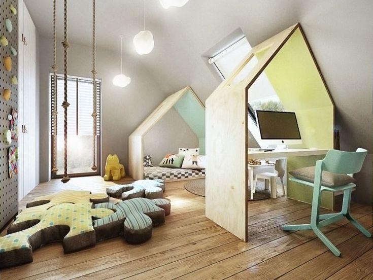 Pokój dla dziecka, biurko i łóżko w kształcie domku