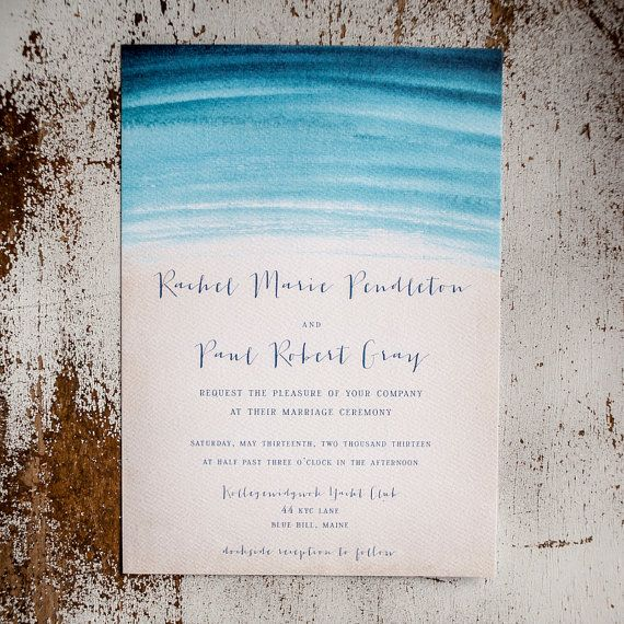 Beach Wedding Invitations - Watercolor Waves - Nautical wedding, rustic wedding, nautical, Invitation, RSVP cards, insert, programs via Etsy