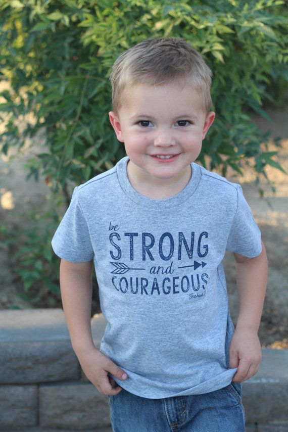 Be Strong and Courageous Grey Tshirt Joshua by LoveBloomsHereshop