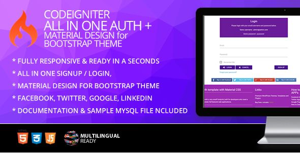 Codeigniter Ion Auth Template With Material Design For Bootstrap