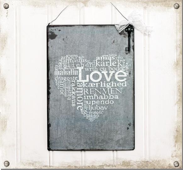 Plåtskylt med nyckel - Love - Nillas Handelsbod #vintage #sign #love #heart