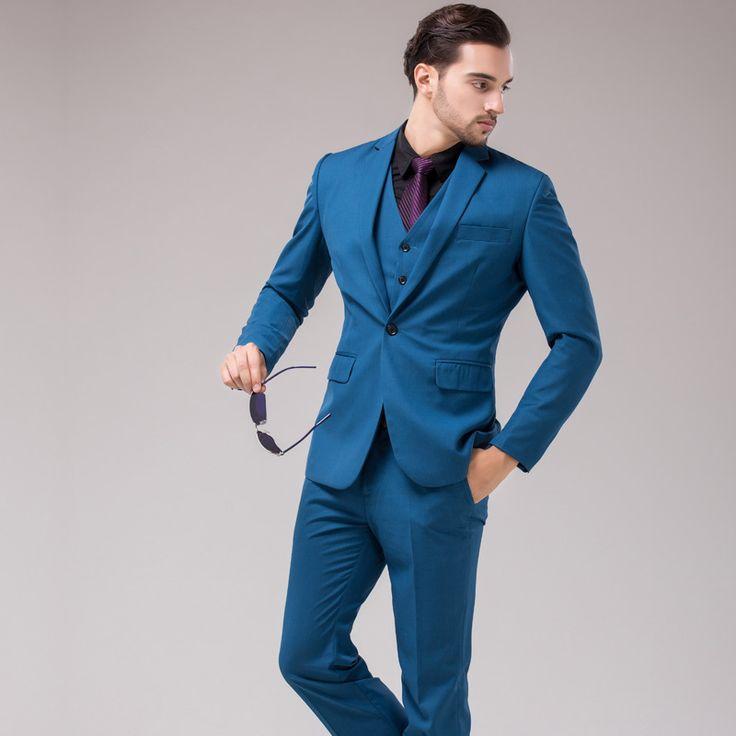 Cheap Sping moda coreanos británicos hombres Slim Fit hombres de traje azul trajes del vestido de boda 3 unidades fija el envío gratis con pantalones, Compro Calidad Trajes directamente de los surtidores de China:             Detalles del producto