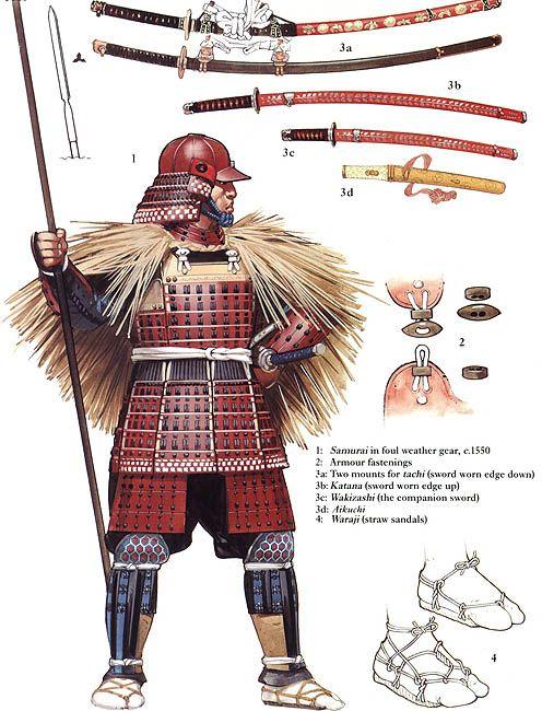 Angus Mc Bride - Samurai con armadura y capa para lluvia, C 1550
