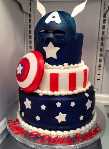 Captain America Birthday Cake Ideas http://ibirthdaycake.com/captain-america-birthday-cakes/ by iBirthdayCake