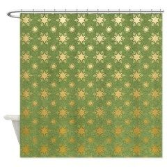 Green Gold Snowflakes Shower Curtain