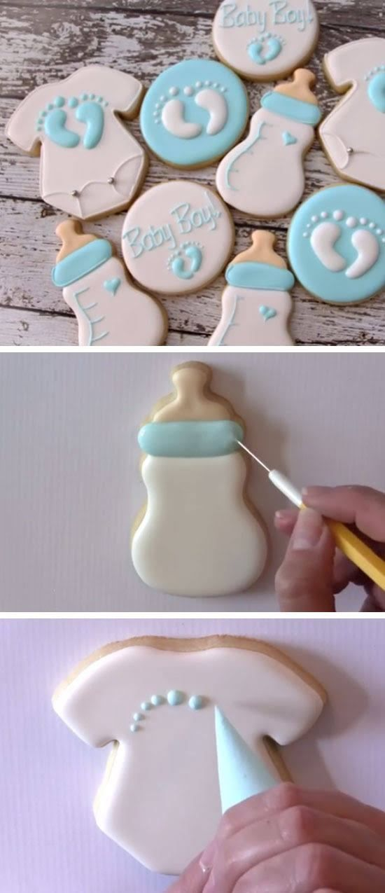 baby bottle and onesie cookies diy baby shower party ideas for boys inexpensive baby