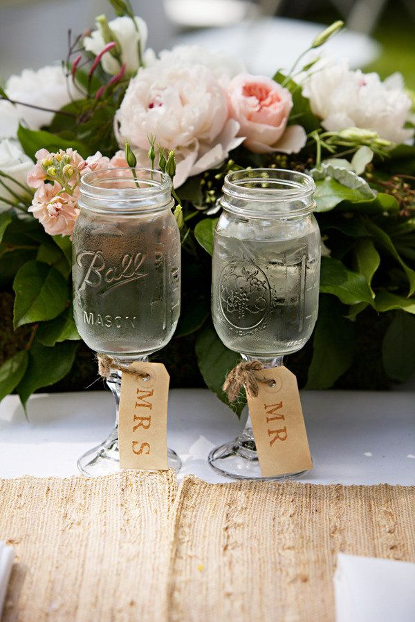 "Mason jar goblets are the new mason jar. we love these ""Mr."" and ""Mrs."" tags!"