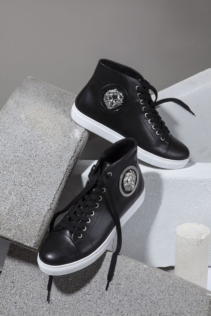 Casual sneakers get the Versus Versace revamp with luxurious leather and silver details.
