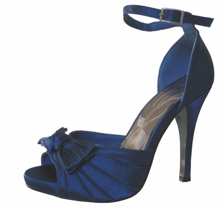 Wedding Shoes Zippay: Eliza Midnight Blue Satin Peep Toe Shoe #WomenShoesOxfords