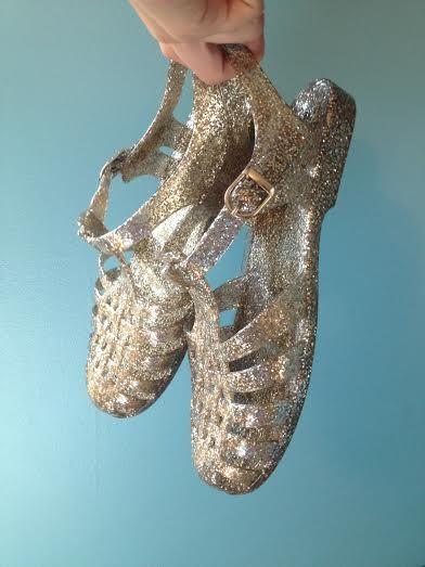 Gold glitter jelly sandals / $15