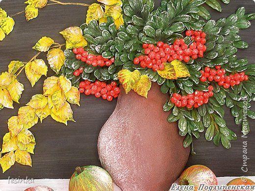Картина панно рисунок Мастер-класс Лепка Рябиновая осень Мастер-класс Тесто соленое фото 2