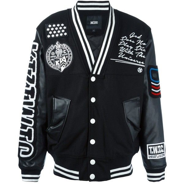 KTZ patched varsity jacket (710 CAD) ❤ liked on Polyvore featuring men's fashion, men's clothing, men's outerwear, men's jackets and black