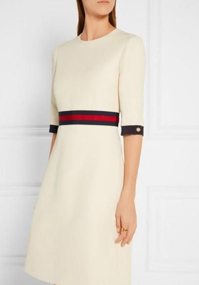 7ca3b02c6e6 White Striped Buttons Zipper Half Sleeve Round Neck Elegant Midi Dress