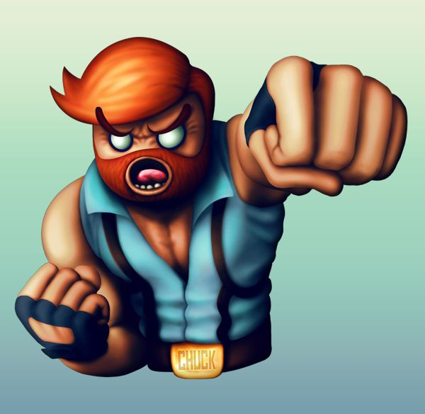 Chuck Norris - Character design for Muster My Monsters iPhone game by Javi Sanz, via Behance