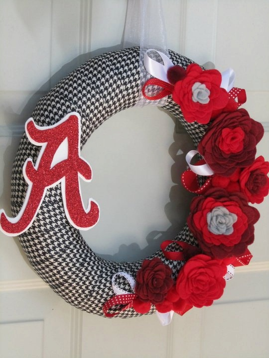 Fall Houndstooth Rose Style University of Alabama Roll Tide Ribbon Felt Flower Wreath