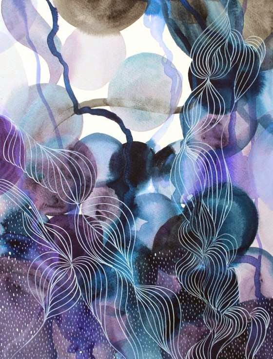 PATTERNS AND ORGANIC DETAILS INTO BEAUTIFUL ABSTRACT WATERCOLORS BY HELEN WELLS