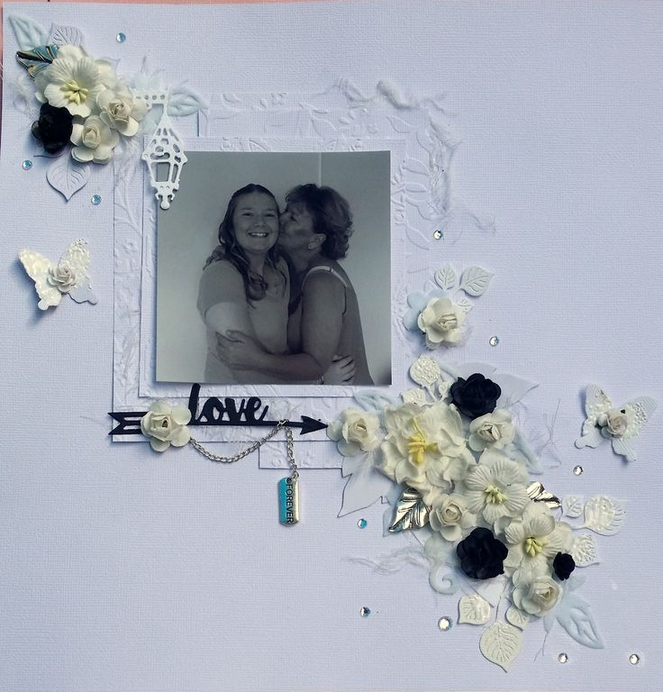White and Black Love Forever Scrapbooking Layout