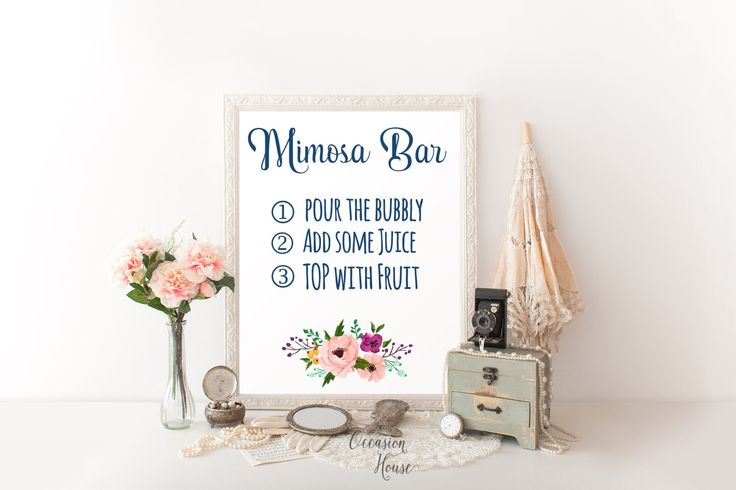 Navy Blue Mimosa Bar Sign, Printable Mimosa Bar Sign, Navy Blush Wedding Signs, Mimosa Bar Instructions, Floral Wedding Sign, 8x10, MB14 by OccasionHouse on Etsy