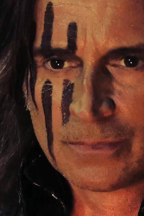 Robert Carlyle as Rumplestiltskin (Mr. Gold) sporting his battle makeup. Love it