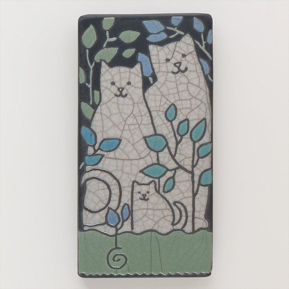 Cat family4x8 raku fired art tilehandmade ceramic by DavisVachon