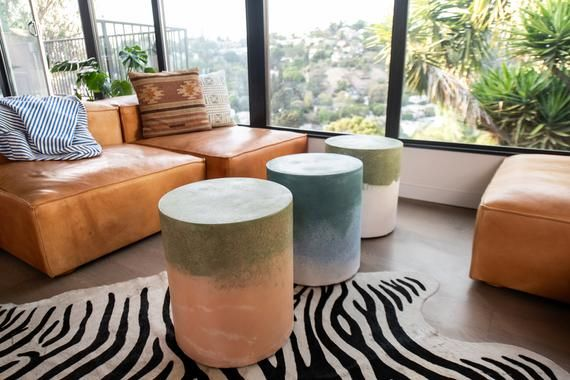 Colorful Chromatic Concrete Side Tables Bedside Table